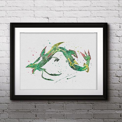 Mega Rayquaza Pokemon Anime Art, Watercolor Printable, Print, Painting, Home Decor, Wall Art Poster, buy poster, buy print