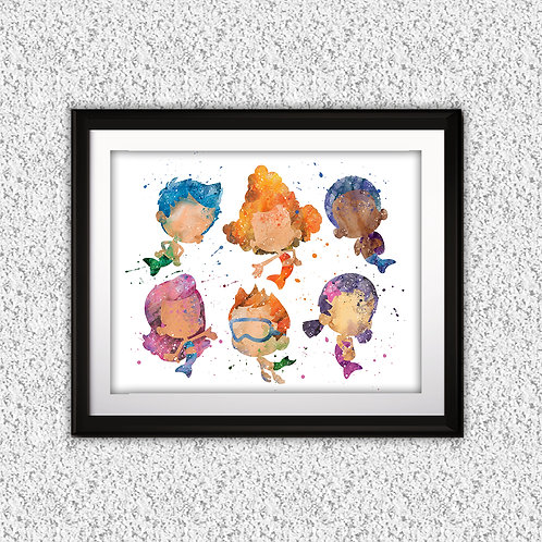 Bubble Guppies Nursery Art prints, wall art print, watercolor painting, Printable art, Home Decor