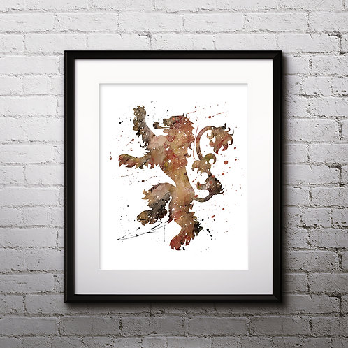 House Lannister Print, Game of Thrones - watercolor, Art Print, instant download, Watercolor Print, poster