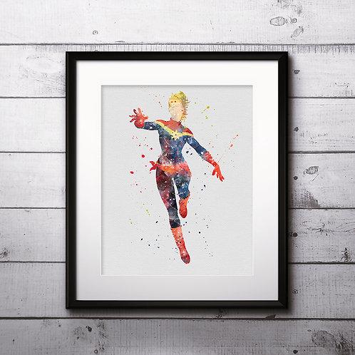 Captain Marvel Superhero Art, Watercolor Printable, Print, Painting, Home Decor, Wall Art Poster, buy poster, buy print
