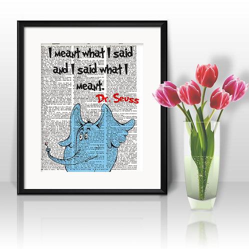 Doctor Seuss art Dictionary Art Art Prints Digital Poster Home Decor mixed media art print
