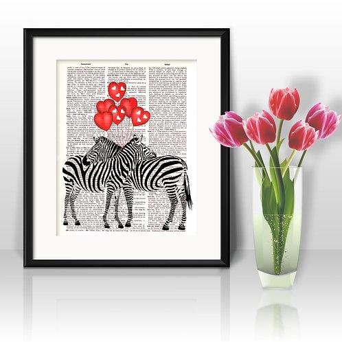 Zebras Vintage Dictionary Art Prints Digital Poster Home Decor mixed media art print