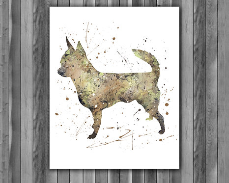Dog Chihuahua watercolor, Dog Chihuahua Art Print, Dog Chihuahua art, Dog Print, Dog wall art, Dog poster Printable, Dog art