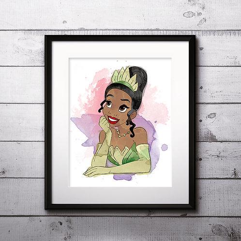 Princess Tiana Disney art prints, printable image, wall art, watercolor painting
