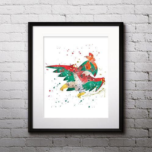 Pokémon Ho-Oh art Prints, Pokemon Anime art prints, buy Posters, buy watercolor art, buy wall art, buy home decor