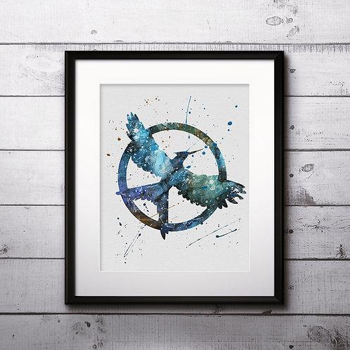 Mockingjay, Hunger Games Instant Download Printable Art Print, watercolor Art Print, watercolor wall art, watercolor home art