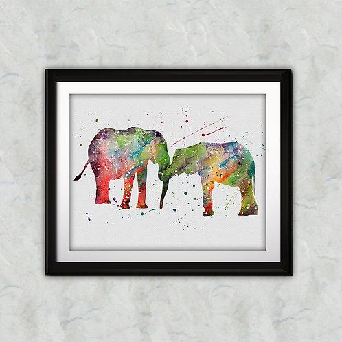 Family Elephants watercolor, Family Elephants Art Print, Family Elephants art, Family Elephants Print, Elephants wall art