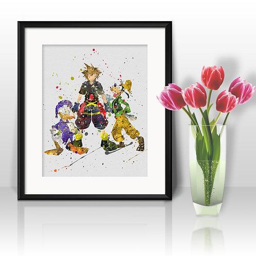 Sora Kingdom Hearts Anime Watercolor Painting, Sora art Print, Sora Poster, Sora