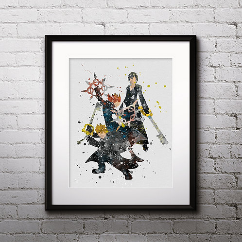 Hearts Axel, Roxas, and Xion Anime art prints, Anime wall art, Anime watercolor painting, Kingdom Hearts Anime art prints