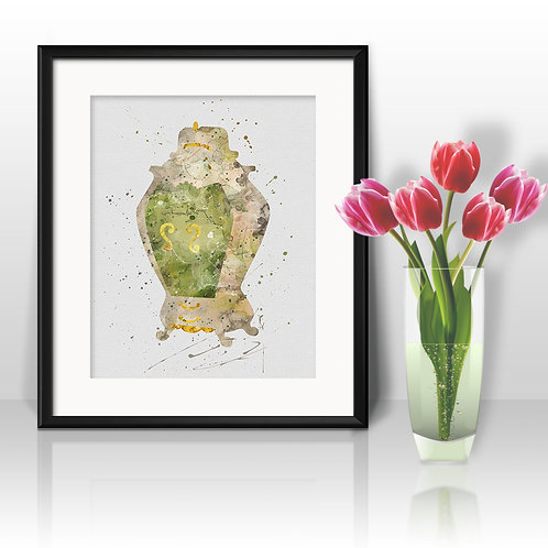 Madame Wardrobe Beauty and the Beast Disney painting Printable Watercolor Art, PPrint ,Painting, Poster, Home Wall Art, Wall