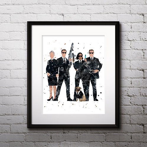 MIB Men in Black Art Prints, Poster, watercolor, Painting, Art, Wall Art, Home Decor, Printables