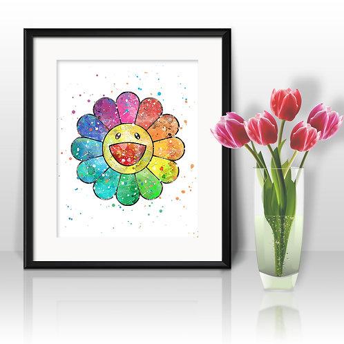 Takashi Murakami flower Anime Nursery Art prints, wall art print, watercolor painting, Printable art, Home Decor