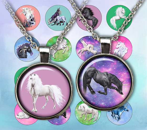 Unicorns Digital Collage 1 inch, 1.5 inch Printable Circles, Cabochon, Collage Sheet, Instant Download