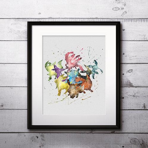 Pokemon Eevee evolution Poster Watercolor Print Art