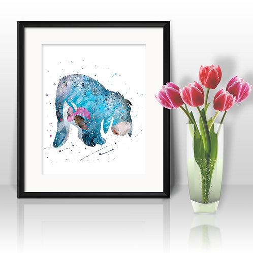Eeyore DISNEY, Winnie the Pooh Painting Nursery Art Print, instant download, Watercolor Print, poster