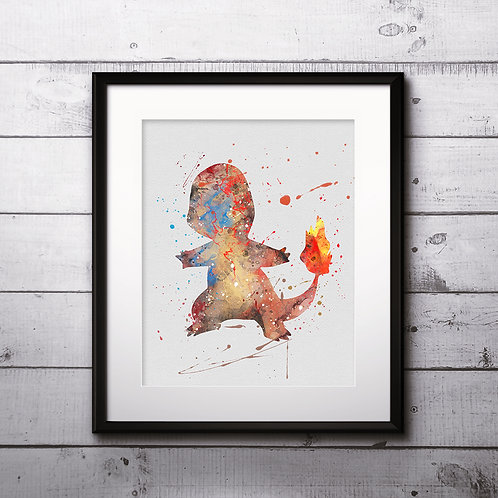 Charmander Pokemon Anime painting Printable Watercolor Art Print Painting Poster Home Wall Art instant download Wall Art Post