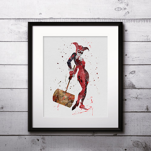 Superhero Girls - Harley Quinn  Art, Watercolor Printable, Print, Painting, Home Decor, Wall Art Poster, buy poster, buy art