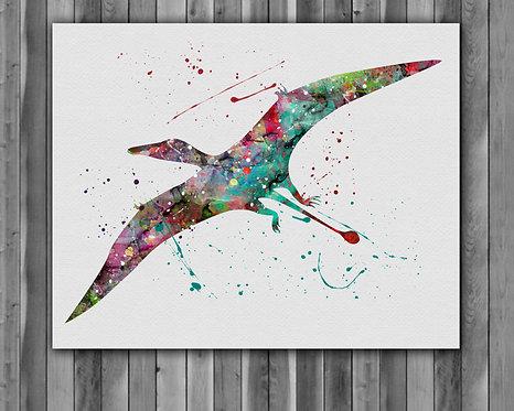 Rhamphorhynchus Dinosaur Watercolor Print, watercolor painting, watercolor art, home decor, watercolor animal, Dinosaur art