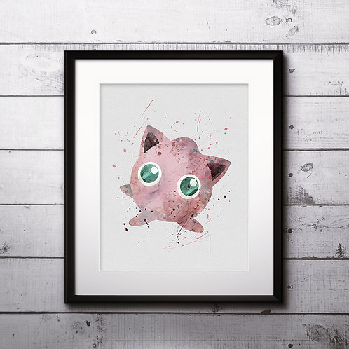Jigglypuff  Pokemon Anime painting Printable Watercolor Art Print Painting Poster Home Wall Art instant download Wall Art