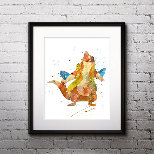 Floatzel pokemon poster- Art Print, instant download, Watercolor Print, Anime watercolor