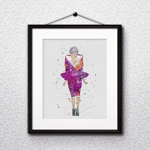 Effie Trinket, Hunger Games Instant Download Printable Art Print, watercolor Art Print, watercolor wall art, watercolor home