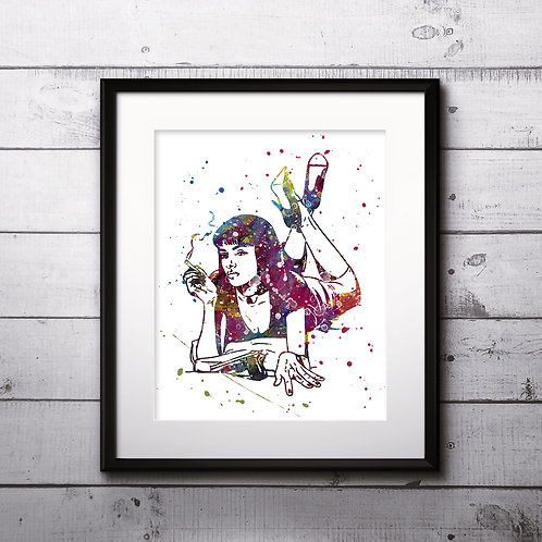 Mia Wallace Pulp Fiction Art Prints, Poster, watercolor, Painting, Art, Wall Art, Home Decor, Printables