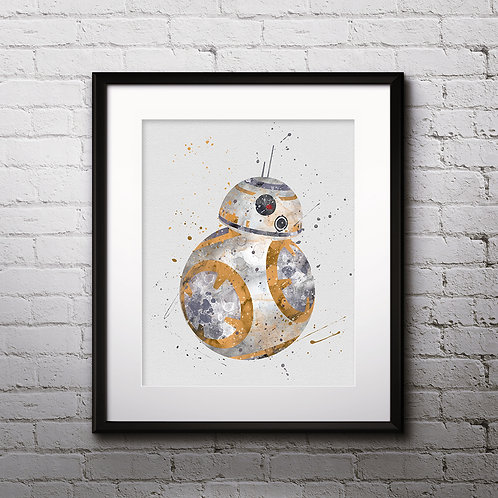 BB8 Star Wars, Printable, Print, painting, poster, wall room decor, Watercolor
