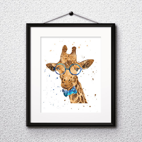 Hipster Giraffe in Glasses  Art Prints, Posters, Watercolor Art, Wall art, home decor, Printable Art, Art Prints, Painting