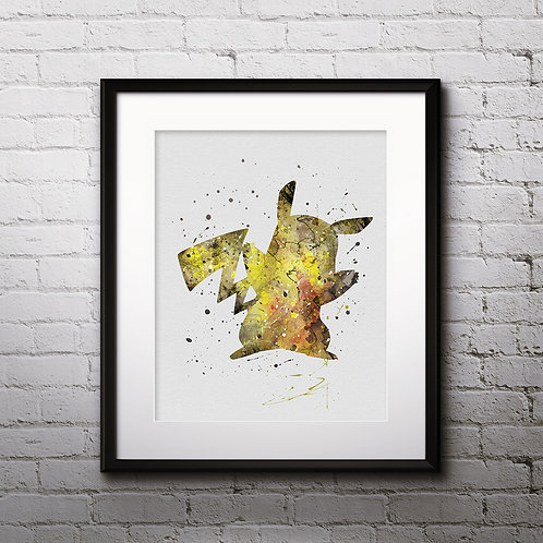 Pikachu Pokemon Anime painting Printable Watercolor Art Print Painting Poster Home Wall Art instant download Wall Art Poster
