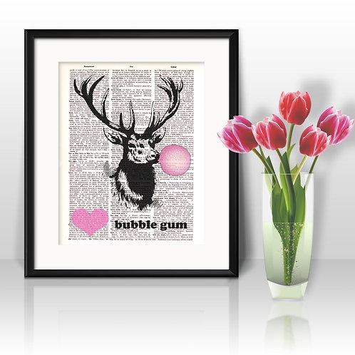 Deer and bubble gum Dictionary Art Prints Digital Poster Home Decor mixed media art print