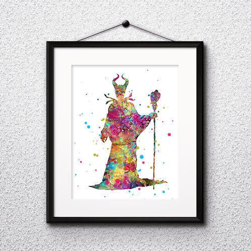Maleficent Disney Art Prints Instant Download Printable Watercolor Art Nursery Prints Painting Poster Home Decor Wall Art