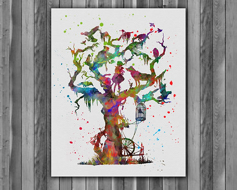 Fairytale Tree Brothers Grimm Instant loading Watercolor Art Print Painting Poster Home Wall Art