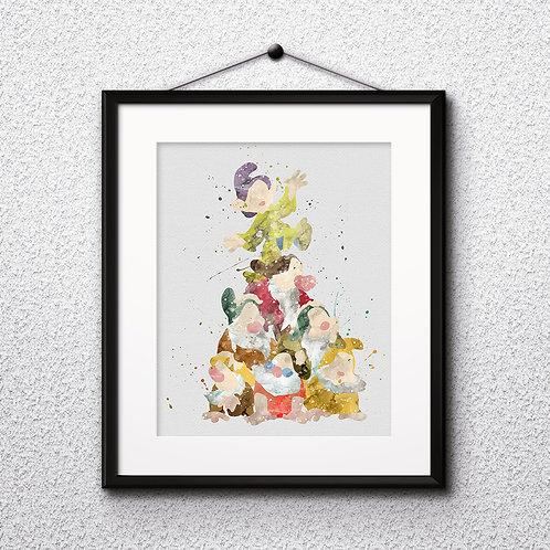 Snow White and the Seven Dwarfs Disney art, Disney Poster, Disney Painting, Disney Art Print, Disney home decor, Disney Decor