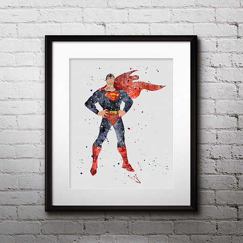 Superman Superhero painting Printable Watercolor Art, Print ,Painting, Poster, Home Wall Art, instant download, Wall Art