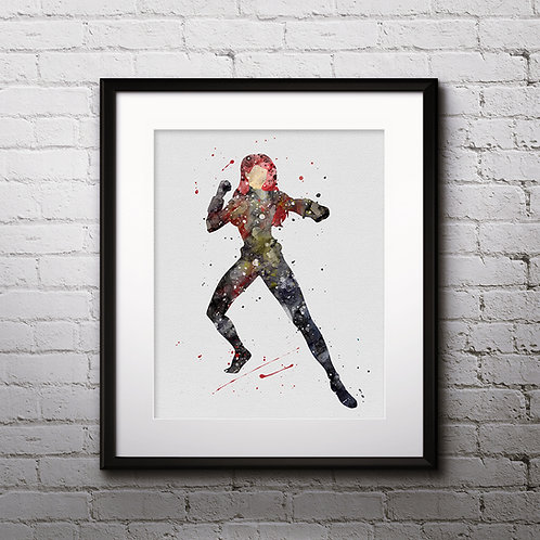 Superhero Black Widow Marvel - watercolor, Art Print, instant download, Watercolor Print, poster