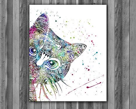 Cat Boho prints, Cat Boho image, Cat Boho art print, Cat Boho poster, Cat Boho illustration, Cat Boho watercolor, Cat art