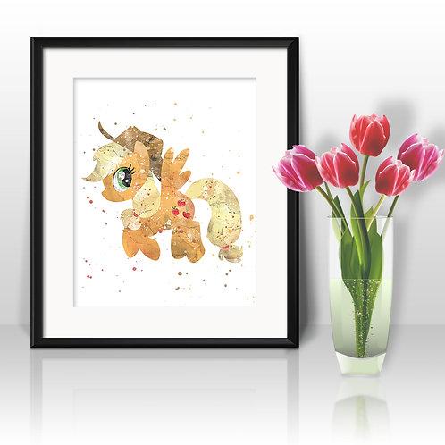 Apple Jack My Little Pony art print, My Little Pony Art, My Little Pony Poster, My Little Pony Painting, My Little Pony Print