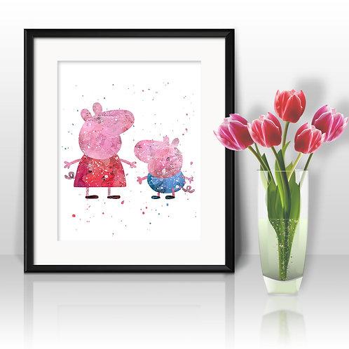 Peppa Pig Art Prints Instant Download Printable Watercolor Art Nursery Prints Painting Poster Home Decor Wall Art