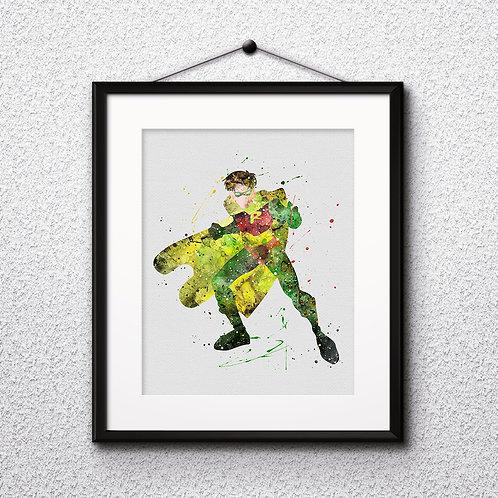 Robin Poster, DC Comics Batman - watercolor, Art Print, instant download, Watercolor Print, poster