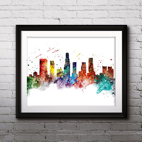 Skylines Art Los Angeles USA, Skylines Art Print, Skylines Poster, Skylines watercolor, Skylines Wall Art, Skylines Home art
