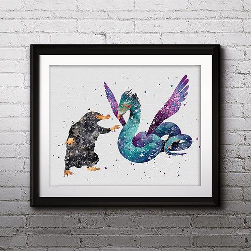 Niffler & Occamy Art Prints, Posters, Watercolor Art, Wall art, home decor, Printable Art, Art Prints, Painting