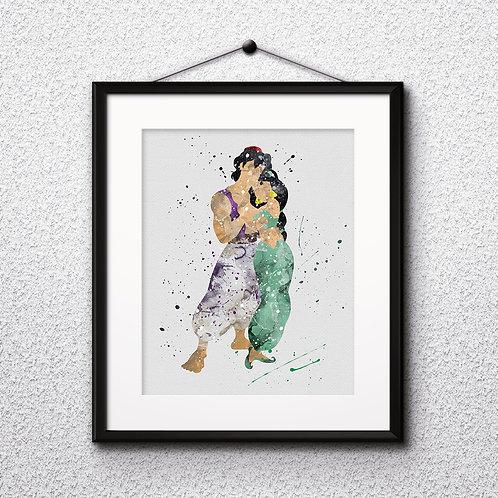 Aladdin and Jasmine art prints, printable image, wall art, watercolor painting