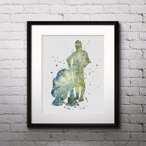 C-3PO and R2-D2 Star Wars, Buy Star Wars Painting, Buy Star Wars Art Print, Buy Star Wars Watercolor Print, Star Wars Poster