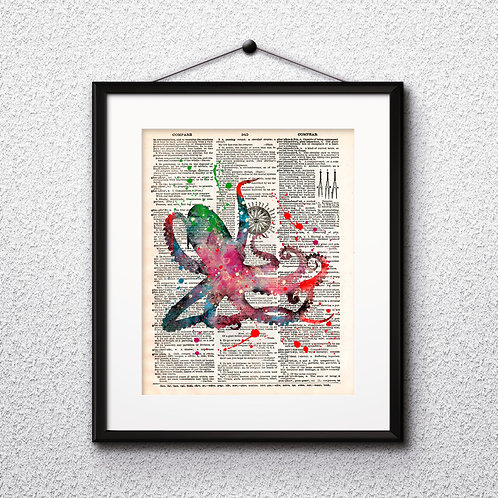 Octopus Dictionary Wall Art painting Home Decor mixed media art print vintage