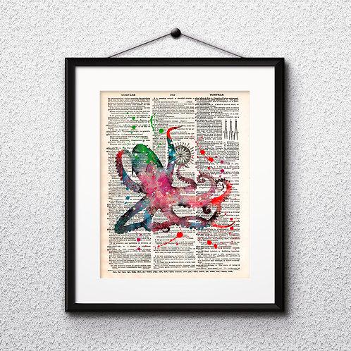 Octopus Dictionary Wall Art painting Home Decor mixed media art print vintage