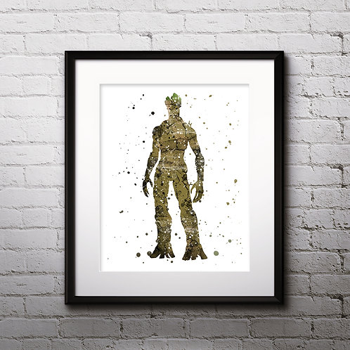 Groot The Guardians of the Galaxy art Prints, Groot Posters, Groot watercolor, Groot wall art, Groot home decor