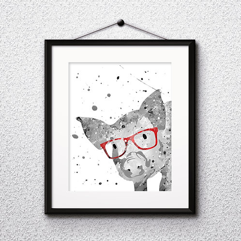 Pig With Glasses Printable Art Print, buy digital image, buy watercolor, buy painting, buy wall art, buy poster