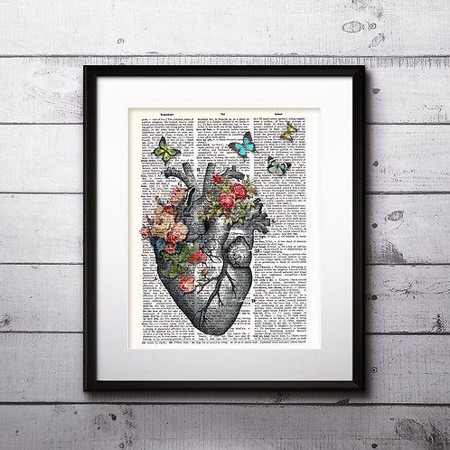 Heart Vintage Dictionary Art Print Anatomy art Prints Digital Poster Home Decor mixed media art print