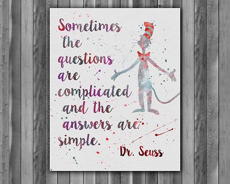 Doctor Seuss Art Prints Doctor Seuss Digital Poster Doctor Seuss Wall art print Home Decor