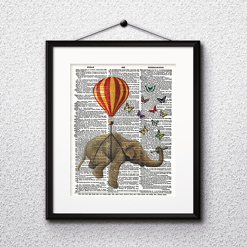 Elephant and Balloon Vintage Dictionary Art Print Art Art Prints Digital Poster Home Decor mixed media art print